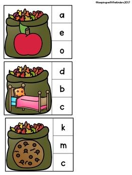 Leaf Bag Beginning Sounds Clip It! Literacy Center