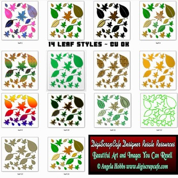 Leaf Collage Pack 14 Styles Transparent PNG Images Commercial Use