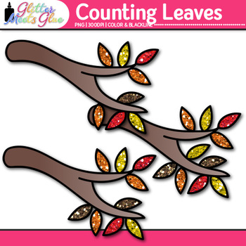 Leaf Counting Clip Art {Autumn Counting and Sorting Manipulatives for Math}