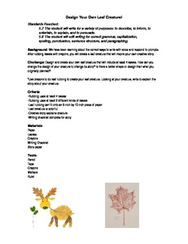 Leaf Creature Creative Writing