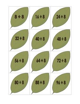 Leaf Division File Folder Game (Divide by 8's)