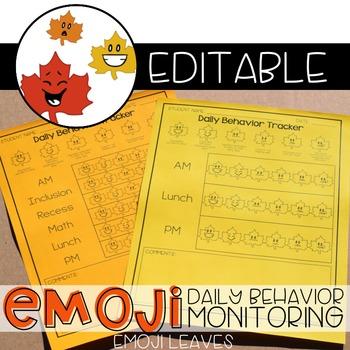 Leaf Emoji Daily Behavior Monitoring Form ( 6 editable versions )