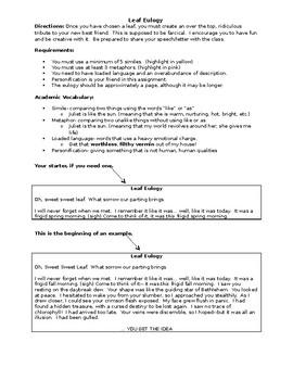 Leaf Eulogy- Creative Writing, Figurative Language and Tone Practice