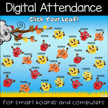 Fall Leaf Fun Digital Attendance (Smart Boards and Computers)