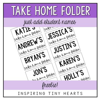 Take Home Folders Label