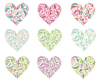 Leaf Heart Clipart, Valentines Day, Heart Set #013