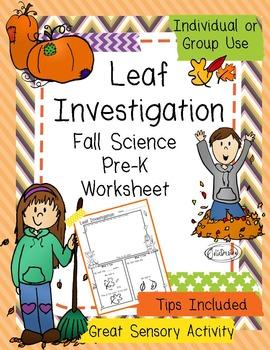 Leaf Investigation Pre-K Fall Science Worksheet