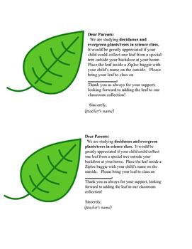Leaf Lab Report Parent Note