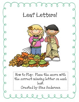 Leaf Letters-alphabetical order: upper and lower case letters.