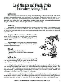 Leaf Margins and Family Traits (Botany)