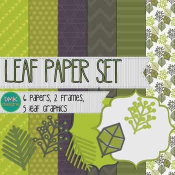 Digital Paper and Frame Set- Leaf