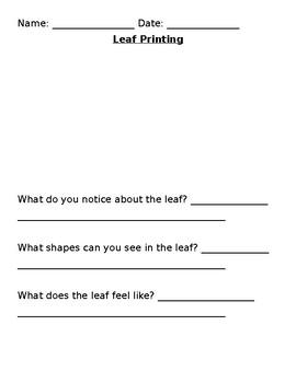 Leaf Printing - Fall Inquiry