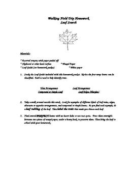 Leaf Scavenger Hunt Homework