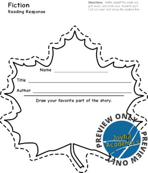 Fall or Spring Leaf Shaped Reading Response Sheets for Any Book