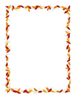 Leaf Stationery Border Red Orange Gold Full Color Printable PDF