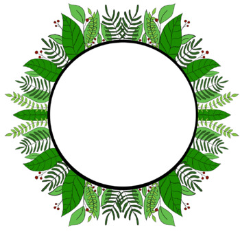 Leaf and Berry Round Border Clip Art