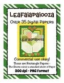 Leafalapalooza Digital Paper - Commercial Use - Fun Leaf,