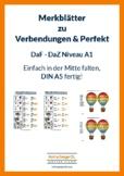 Leaflet Merkblatt zu Verb-Endungen Präsens und Perfektbeispiele mit haben - sein