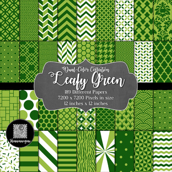 12x12 Digital Paper - Color Scheme Collection: Leafy Green (600dpi)