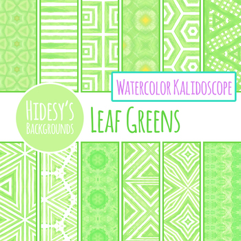 Leafy Green Watercolor Backgrounds / Digital Papers / Patterns Clip Art Set