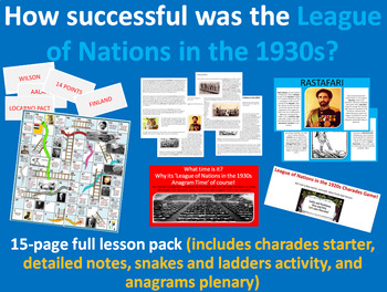 League of Nations 1930s - 15-page full lesson (starter, notes, task, plenary)