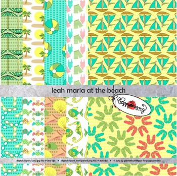 Leah Maria at the Beach Digital Papers by Poppydreamz