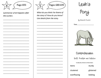 Leah's Pony Trifold - California Treasures 4th Grade Unit 6 Week 1