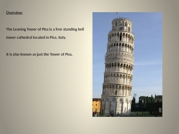 Leaning Tower of Pisa - Power Point - History Structure Facts 8 Slides