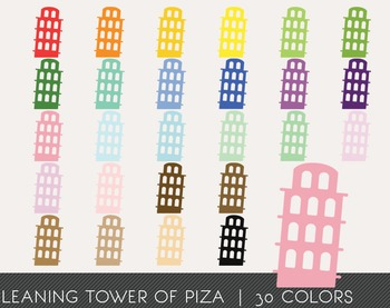 Leaning Tower of Piza Digital Clipart, Leaning Tower of Piza Graphics