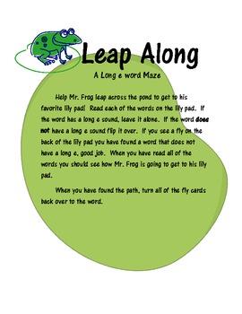 Leap Along- Long E Word Maze