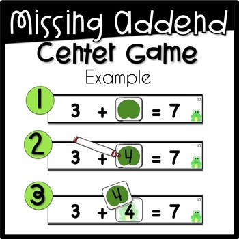 Missing Addends Cover Up Game