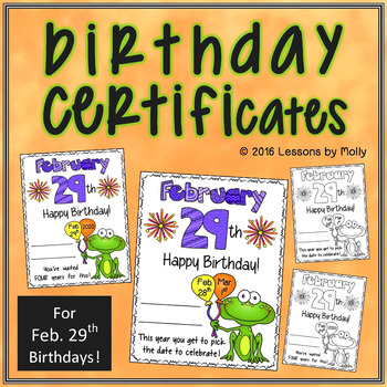 Leap Day Birthday Certificate
