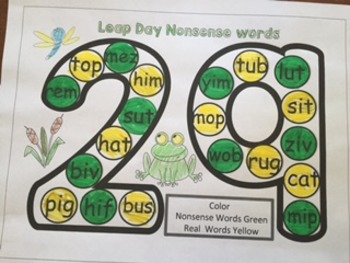 Leap Day Coloring Nonsense Words