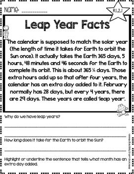 Leap Year Facts No Prep Printables Non-fiction Passages
