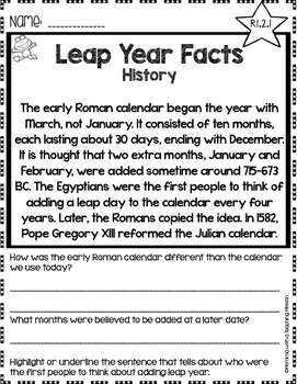 graphic relating to Leap Year Printable identified as Soar Calendar year Information and facts No Prep Printables Non-fiction Internet pages