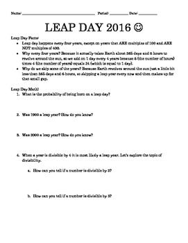 Leap Day High School Math Activity