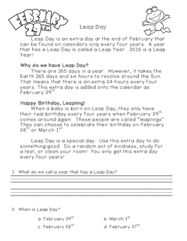 Leap Day Reading Comprehension and Writing Prompt