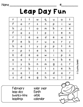 Leap Day Word Search Freebie