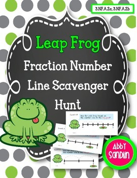 Fractions on a Number Line: Leap Frog Scavenger Hunt {3.NF.A.2a, 3.NF.A.2b}