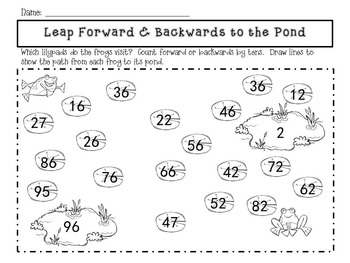 Leap Frog Mat - Counting forwards & backwards by 1s, 5s, and 10s