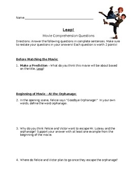 Leap! Movie Comprehension Questions