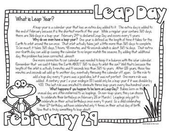 Leap Year Activities with Opinion Writing CCSS