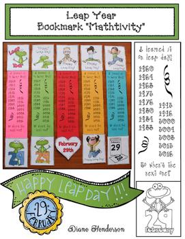 Leap Year Bookmarks: Math Craftivity