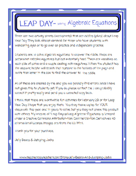 Leap Year Day-Solving Algebraic Equations