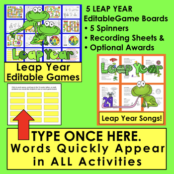 Leap Year Leap Day Bundle | Mini Books, PowerPoint, Editable Games, and Songs