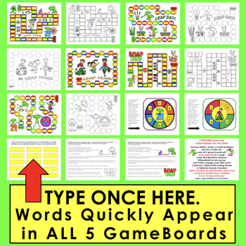 Leap Year Leap Day Sight Word Game Boards Editable for Any List of Items