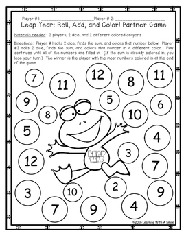 Leap Year Math FREEBIE - Addition - Partner Game