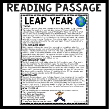 Leap Year Reading Comprehension Worksheet, February 29th