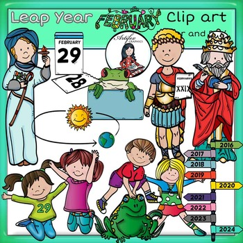 Leap Year clip art -Color and B&W- 44 items!