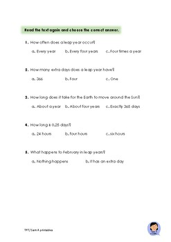 Leap year Reading comprehension